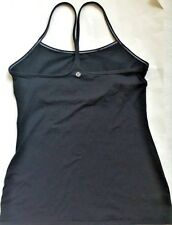 LULULEMON Power Y Tank Top Solid Black w White Stitching & Shelf Bra size 6 Yoga