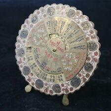 Vintage Brass 40 Year Perpetual Calendar 1960-1999 with Zodiac from India