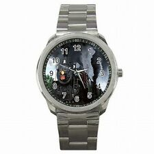 Steam Train Railroad RR Model Set Collector Stainless Steel Sport Watch New!