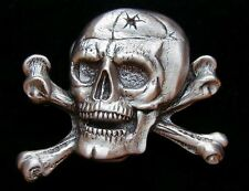 SKULL AND BONES PIRATE BELT BUCKLE NEW! BUCKLES