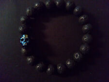 Black Lava Brimstone Blue Austrian Crystal Skull Baby Chrome King Bracelet
