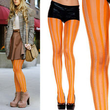 Retro Neon Bright Orange Net Vertical Striped Pantyhose Tights Halloween Costume