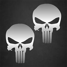 """2 - 4"""" x 6"""" Carbon Fiber Punisher Skull Stickers Decals Military United States"""
