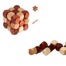 Snake Cube Wooden Kong Ming Lock Brain Teaser Puzzle Office Desk Toy Gift  SH