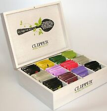 Large Clipper 12 compartment Wooden Tea Chest Box with 80 Tea Bags