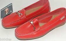 HUSH PUPPY RED LEATHER LOAFERS & METAL HORSEBIT BUCKLE - UK SIZE 4/ EURO 37 NEW