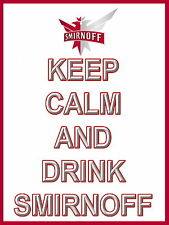 Keep Calm and Drink Smirnoff metal Aluminium Sign Vodka