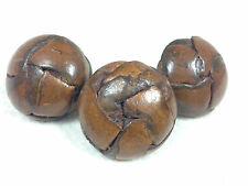 Set of 3 Vintage Retro Large Brown Real Leather football Buttons 32.5mm dia