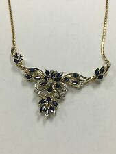 14k Gold Necklace With Sapphires And Diamonds Center