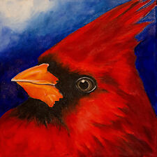 8x8 CARDINAL Bird Wildlife Nature Signed Art PRINT of Original Oil Painting VERN