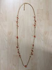 Joan Rivers QVC Long Necklace In Gold Tone With Amber And Red Beads