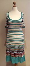 MISSONI DRESS SIZE 8 BLUE ORANGE PURPLE STRIPE WOOL MIX MADE IN ITALY