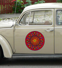 "CLR:CAR - FIRE Element Mandala - Stained Glass Car Vinyl Decal ©YYDC (13.5""dia)"
