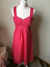 GREAT PLAINS Hot Pink Linen Dress With Bow Detail, Size Small (8/10)