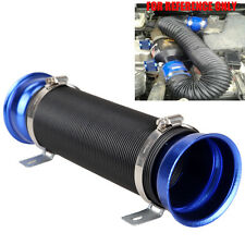 "Blue 76mm 3"" Adjustable Flexible Short Ram Cold Air Intake Duct Turbo Tube Pipe"
