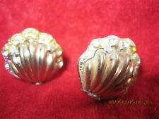 VINTAGE Shell gold tone with rhinstones clip earrings art deco by Uris sales
