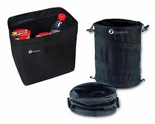 Zone Tech Traveling Car Trash Can Black Collapsible Pop-up LeakProof Litter Bag