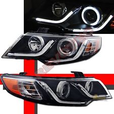 G2 CCFL Halo R8 LED Strip Black Projector Headlights For 10-13 Kia Forte Koup