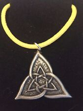 "CELTIC TRIANGLE DR55 Made From Fine English Pewter On 18"" Yellow Cord Necklace"
