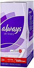 Always Dri-Liners Pantiliners Unscented For Sizes 14 Plus 34 Each (Pack of 6)