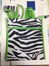 NEW Black & White Zebra Bag with Lime Green Trim and small coin purse-tote