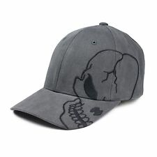 Charcoal Gray Skull Skateboard Goth Baseball Biker Adjustable Grey Ball Cap Hat