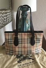 BURBERRY Haymarket Check  Regent Tote Brown Leather Canvas W/Dust Bag