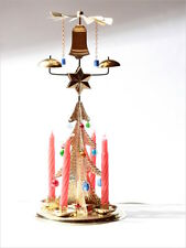 Christmas free standing angel chimes gold tone candle holder bell star glass