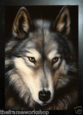BLACK FRAMED WOLF HEAD - 3D MOVING PICTURE 300mm X 400mm (NEW)