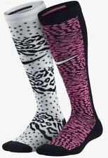 NEW NIKE GIRLS SOCKS 2 PAIR OVER THE CALF PINK WHITE BLACK SIZE 5 To 7 Youth