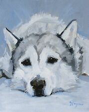 Original Oil painting - portrait of a siberian husky dog  - by j payne