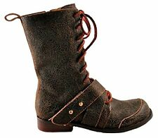 GEE WAWA SHOES MARLA COMBAT BOOTS 6 LACE UP MID CALF DISTRESSED BROWN LEATHER