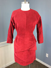 Vintage Lord & Taylor Red Suede Leather Sheath Peplum Dress S 6 8 3/4 sleeve