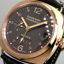 UNWORN PANERAI PAM 497 RADIOMIR 10 DAYS GMT ROSSO PAM 00497 PINK GOLD BROWN DIAL