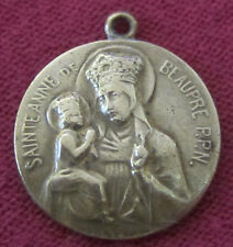 Antique Catholic Religious Holy Medal - Saint Anne De Beaupre - BRASS - OLD