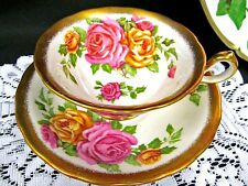 ROYAL CHELSEA TEA CUP AND SAUCER PAINTED  ROSES & GOLD GILT TEACUP GOLDEN GLORY