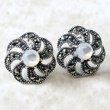 ALLURING MARCASITE MOTHER OF PEARL 925 STERLING SILVER STUD EARRINGS
