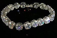 14k White Gold Tennis Bracelet made w/ Auth Swarovski Crystal Clear Stone Bridal