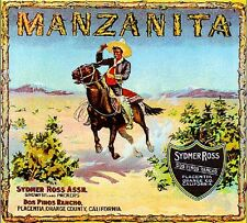Placentia Manzanita Cowboy Orange Citrus Fruit Crate Label Vintage Art Print