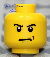 NEW Lego MINIFIG HEAD w/Angry Grin Smirk Smile - Boy/Police/Pirate/Castle Knight