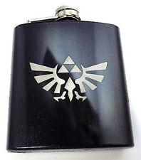 Zelda Black Game Engraved 6oz Glitter Wedding Favor Hip Flask Liquor FEN-0025