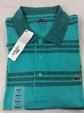 Lacoste Men's Polo Shirt Brand NWT Thalassa Blue Grey Stripes Size EU 6 US L
