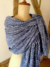 Vintage Style Damask Print  Scarf In Denim Blue. Cotton Blend.
