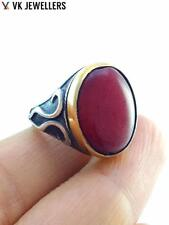 STERLING 925 SILVER SIZE 10 QUARTZ RING TURKISH HANDMADE MEN'S JEWELRY R2800
