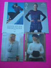 COLLECTABLE KNIT LEAFLETS X 4 'FILATURA DI CROSA/KING COLE/PATONS/ SIRDAR' TOPS