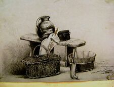 ETON KEATE FAMILY ARCHIVE STILL LIFE OF POTS AND BASKET AUGUSTA  KEATE C1840/50