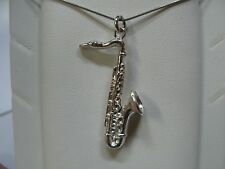 SAX MAN WOMAN WITH CHAIN ​​925 SILVER WHITE GOLD WITH EFFECT