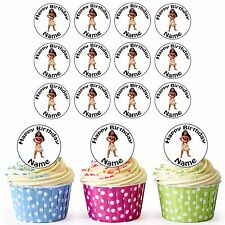 30 Personalised Disney Princess Moana Pre-Cut Edible Wafer Cupcake Cake Toppers