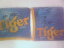 TIGER BEER x 2 -   Beermat / Coaster - double sided - USED