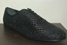 NIB GUCCI WOMENS SATIN WITH BLACK CRYSTALS LACE UP SHOES EU 39 US 9 ITALY $1795